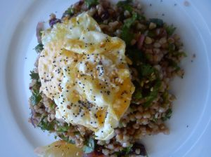Buckwheat salad with a runny fried egg