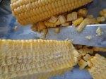 Shaving the corn kernels