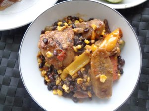 Plantain, chicken, beans, corn